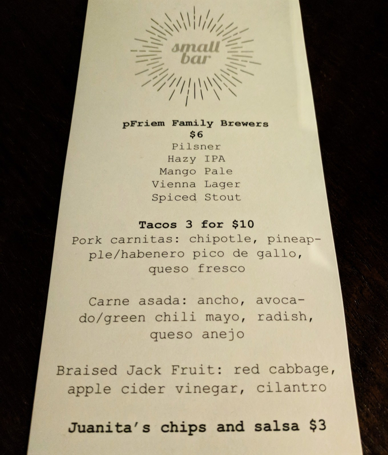 Small Bar Pop-Up PDX Menu