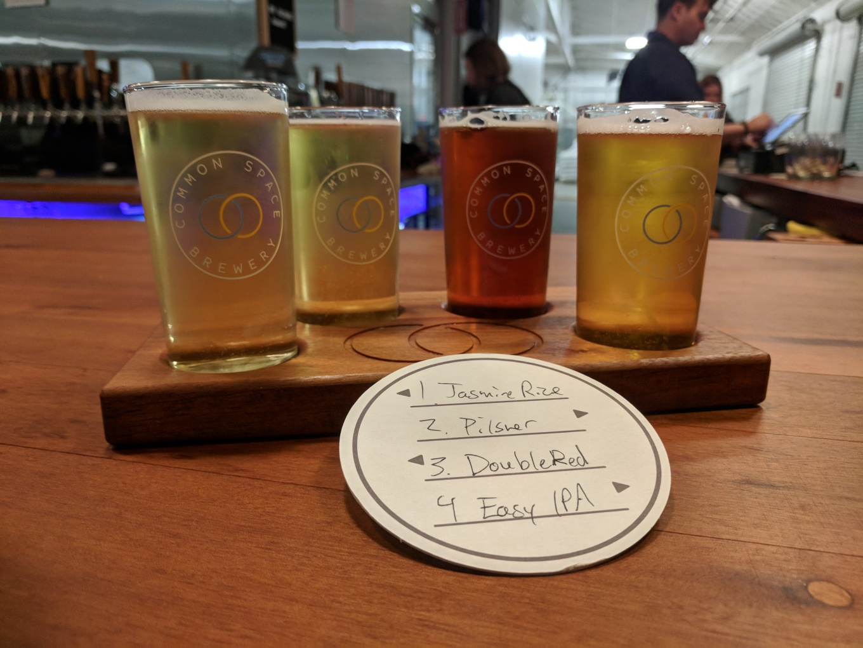 Common Space Brewery Craft Beer Flight