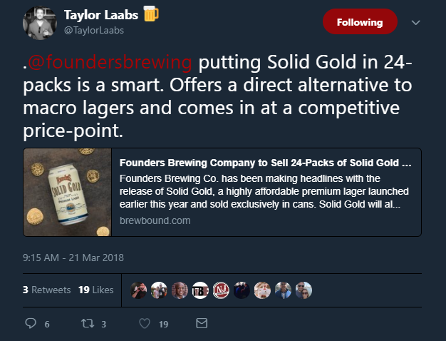 Taylor Laabs Tweet 24pk Founders Solid Gold