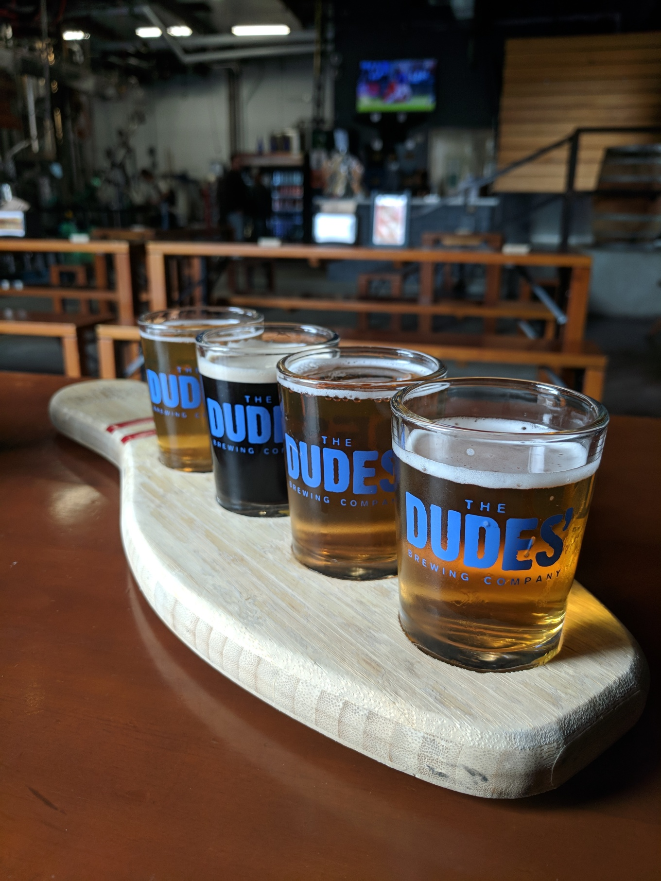 The Dudes' Torrance Taproom Bowling Pin Flight