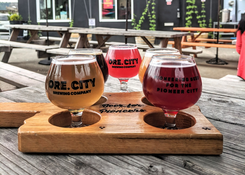 Oregon City Brewing Beer Flight