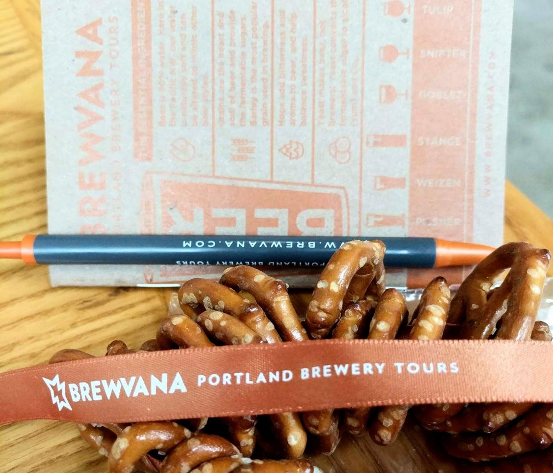 BREWVANA Tour Pretzel Necklace Notebook Portland Tourism