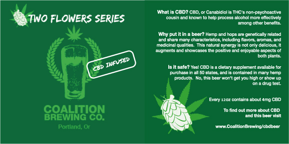 Two Flowers Series Label Coalition Brewing CBD IPA
