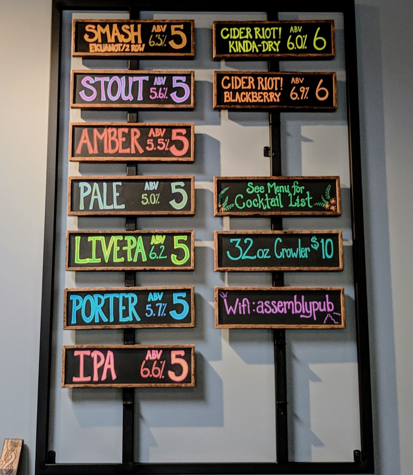 Assembly Brewing Taplist Portland Oregon