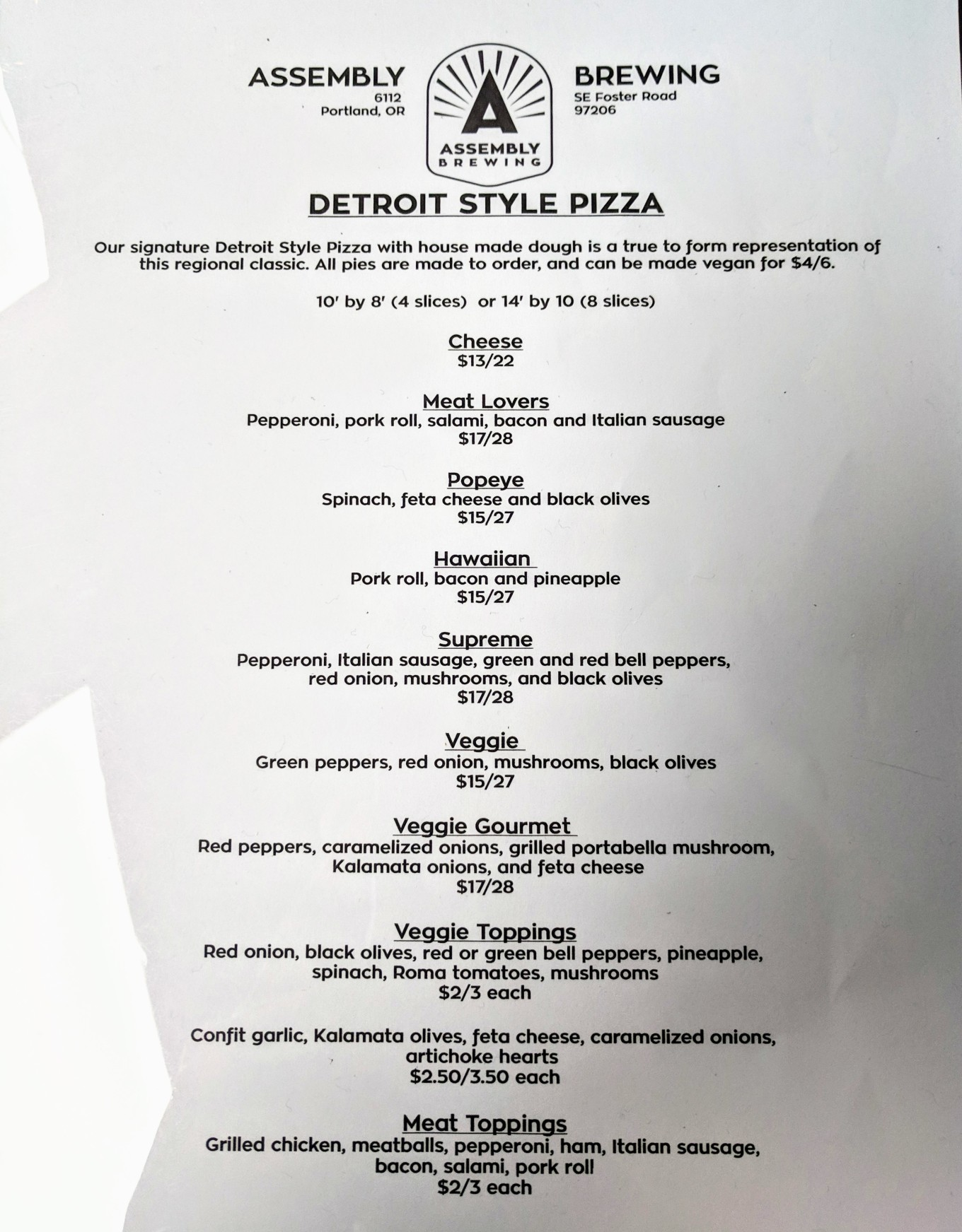 Assmebly Brewing Detroit Style Pizza Menu Portland Oregon