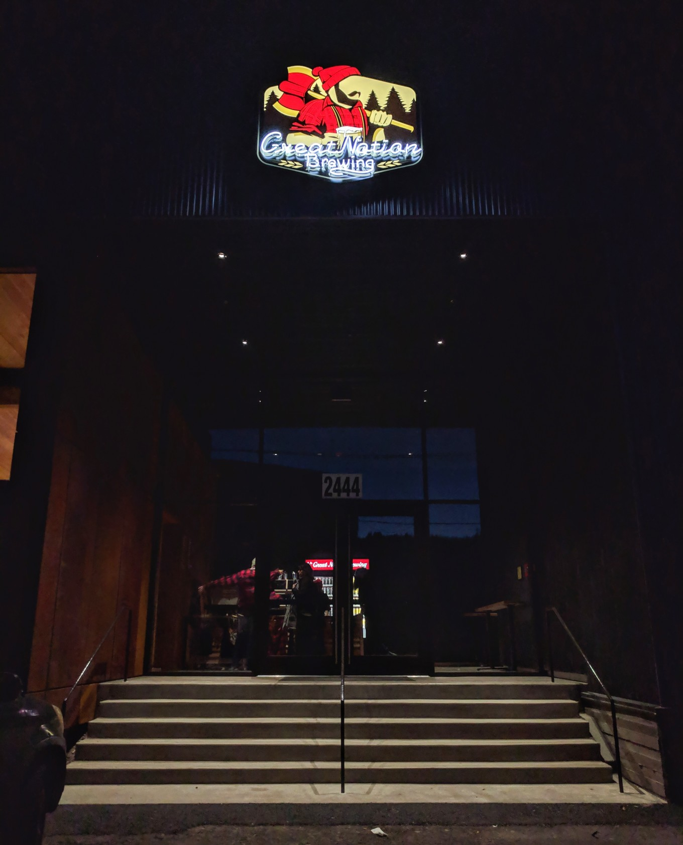 Great Notion Brewing NW Front Entrance Night Neon Sign Portland Oregon